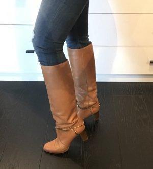 Vintage Boots Stiefel Leder 80s Langschaft Reiterstiefel tan Nude Camel 38 western cowboy