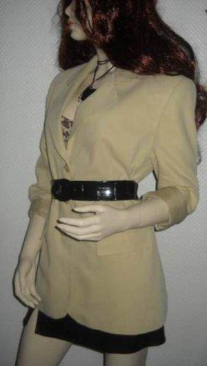 Vintage Boyfriend Blazer Long Jacke Jäckchen creme beige 34 36 38 40 XS S H M L