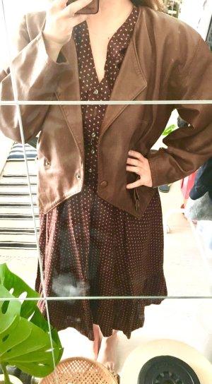 Vintage Braune Oversize Leder Jacke