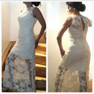 Vintage Brautkleid, Festkleid, Gala, Etuikleid, Ballkleid Herzausschnitt   Spitze vanillegelb creme Gr S von ***Pronovias***
