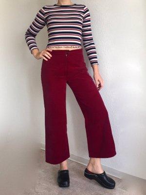 Vintage breite 3/4 Hose in rot aus Samt
