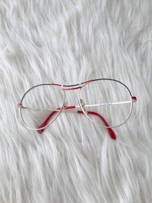 Vintage Brille • Brillengestell weiß rot