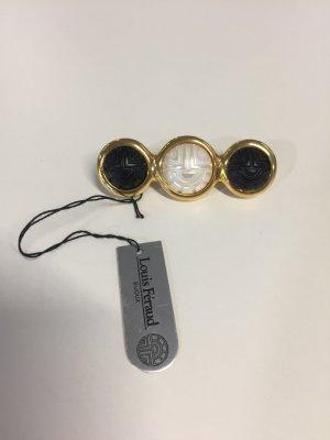 Vintage-Brosche Louis Féraud weiß-schwarz-gold