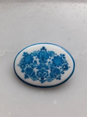 Broche bleu fluo-blanc