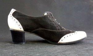 Vintage Budapester, Dandy, Flapper, 20er, Lady Wingtips, 38, Lack & Velour Leder,