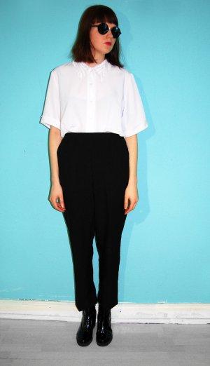 vintage bügelfaltenhose high waist karotte schwarz anzughose clean chick