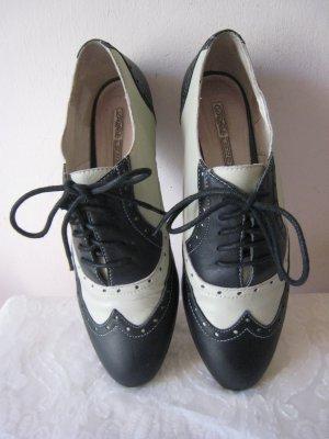Vintage Buffalo>  Banditen´ Schuhe Softleder Schwarz & Weiß Originell hoher NP Top