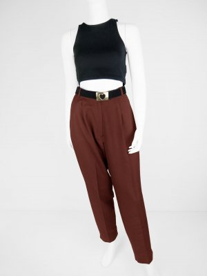 Vintage Bundfalten-Hose aus Material-Mix