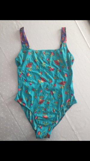 Vintage: Bunt gemusterter Badeanzug mit Rückenausschnitt