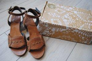 Sandalen met bandjes en hoge hakken bruin-cognac