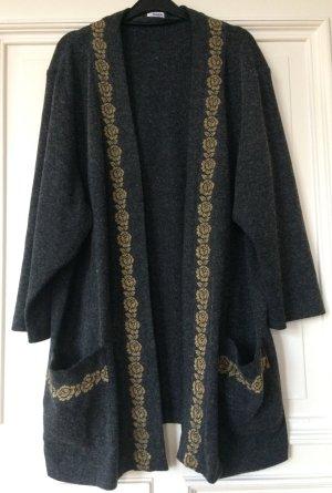 Vintage Cardigan Oversize Kimono Grau Rosen Stickerei Gold Trend Blogger
