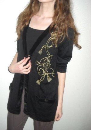Vintage Cardigan schwarz gold Strickjacke Applikation Kordel 34 36 38 XS S H M