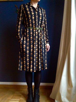 Vintage Céline Paris Kleid aus 100%Seide schwarz mit Blumenprint Gr.36/38