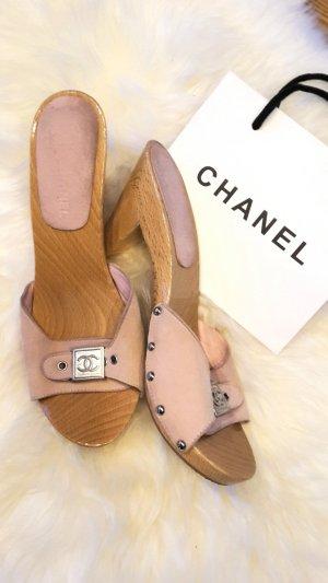 Vintage Chanel Pantolette Clogs Holz Leder   Logoschnalle    Gr 38