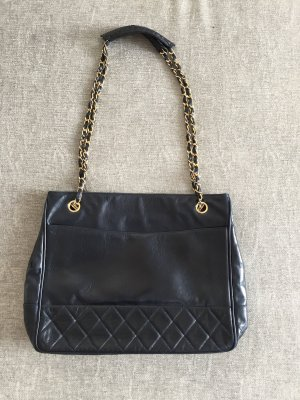 Vintage Chanel Shopper Klassiker in Dunkelblau