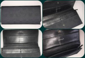 Vintage Chanel Travel Line Black Denim/Leder Geldbörse