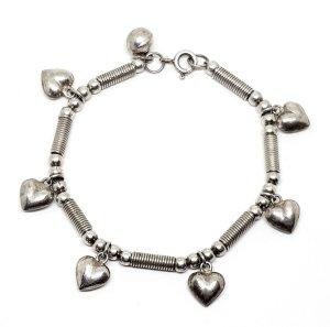 Vintage Charm Armband 925 Sterling Silber Herzen  Designer Schmuck Retro