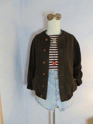 Vintage Chaqueta bomber marrón oscuro-marrón lana de esquila