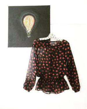 vintage chiffon bluse / schwarzblau / rot / boho / hippie / granny