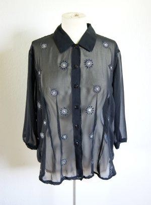 Vintage Chiffonbluse transparent, Bluse mit metallischen Ornamenten Stickerei, grunge