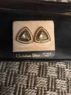Vintage Christian Dior goldene Ohrringe Gold 14 K Ohrstecker mit Steinen Zirkonia?