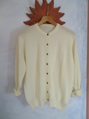 Vintage Clean Chic Off White oversize Cardigan Button Down Pullover 100% Merinowolle S M L Cosy Weich