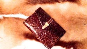 Vintage Clutch aus echtem Leder, braun/gold
