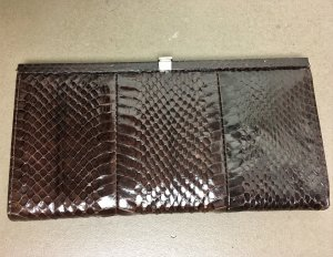 Clutch multicolored reptile leather