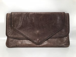 Clutch black brown leather