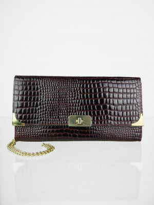 Clutch bordeaux-gold-colored imitation leather