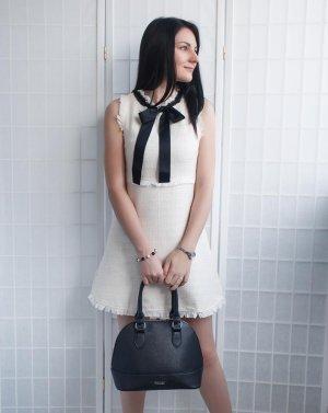 Vintage Coco Kleid Weiß Tweed Schleife XS 34