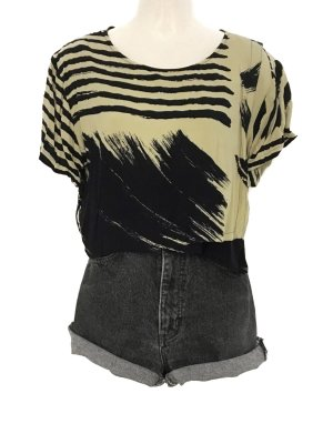 Vintage Crop Top Muster Shirt Abstract Print Kurz Festival Hippie Style