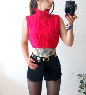 Vintage cropped Top knallpink, hochgeschlossene Crop Bluse Volants, 80er blogger alternative