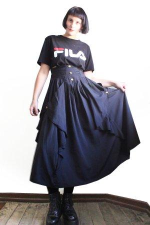 Vintage Designer Long High Waist Ruffled Skirt