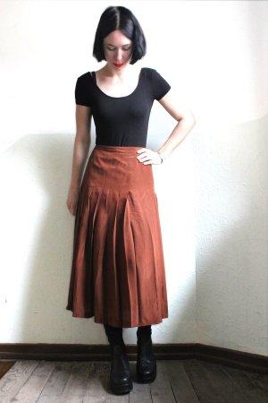 Vintage Designer Pancaldi&B Pleated Bronze Pure Silk Midi Skirt
