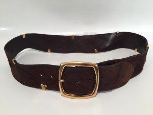 Cinturón pélvico marrón oscuro-color oro Cuero