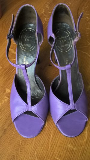 Dior T-Strap Sandals blue violet leather