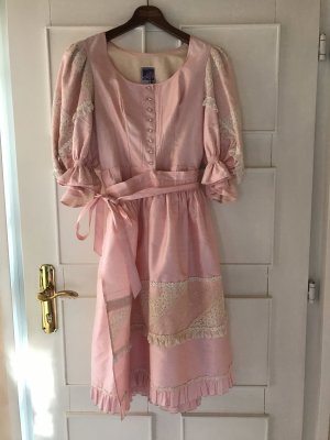 Vintage Vestido Dirndl rosa claro-blanco puro