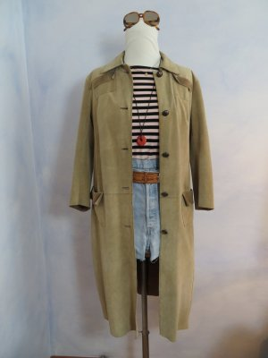 Vintage Dondup Mantel Made in Italy Luxus Wildleder Suede Trenchcoat IT 42 DE 36 38 S M Pastell hellbraun