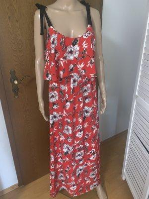 Vintage Dressing Blumenprint Maxikleid Rot Sommer Strandkleid Floral Print