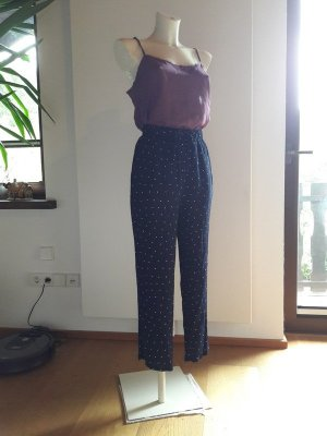 Vintage Pantalone a vita alta blu scuro-bianco