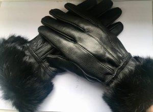 Vintage Echte Pelz Leder in Schwarzer Handschuhe