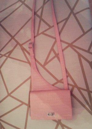 Vintage Escada Tasche Leder pink rosa Reptillook Umhängetasche Täschchen mini