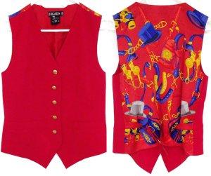 Vintage ESCADA Weste rot Seide Schurwolle Muster High Designer Fashion