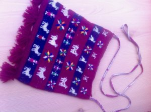 Fringed Bag purple-white new wool