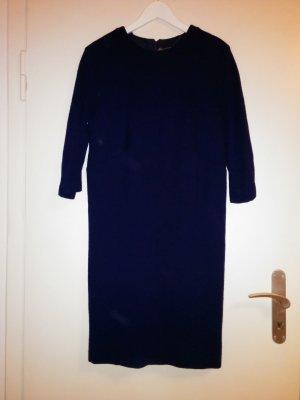 Robe fourreau bleu laine vierge