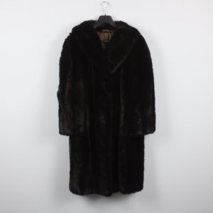Vintage Fake Fur Mantel Gr. S/M dunkelbraun oversized (18/12/086)