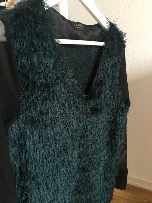 Lambo Transparante blouse zwart-petrol