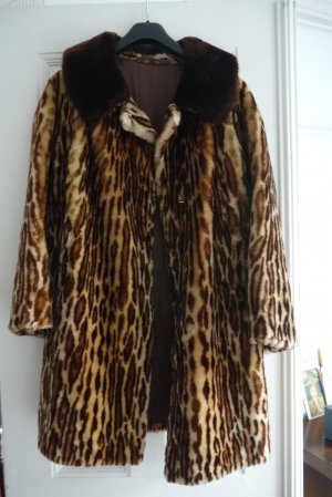 Vintage Fellmantel, Fake Fur,  Animalprint