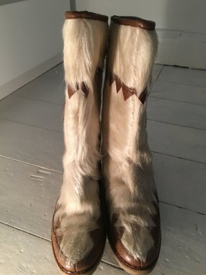 Botas de piel blanco puro-marrón Piel